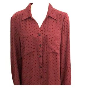 NY Collection Tops - Maroon Polka Dot Long Sleeve Button Down
